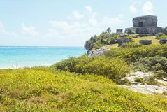 Tulum mayan ruins sea stock images