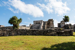 Tulum Mayan Ruins. South of Playa Del Carmen on the Yucatan Peninsula Royalty Free Stock Image