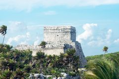 Tulum Mayan Ruins. Besides Caribbean Sea Royalty Free Stock Image