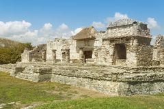 Tulum mayan ruins. Mexico, near caribbean sea stock images