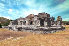 Tulum mayan stad på den yucatan halvön Arkivbilder