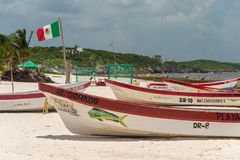 Colorful fishermen boats on Playa Tulum. royalty free stock photography