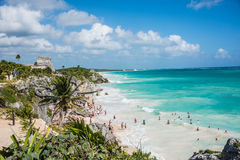 TULUM, MEXICO - DECEMBER 22: Ancient Mayan Ruins near the Caribb Royalty Free Stock Photos