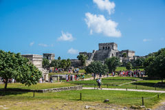 TULUM, MEXICO - DECEMBER 22: Ancient Mayan Ruins near the Caribb Stock Images