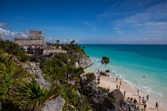 Majestic ruins in Tulum, Mexico. Tulum, Mexico - February 3,2018: Majestic ruins in Tulum.Tulum is a resort town on Mexicos Caribbean coast. The 13th-century stock photography