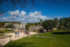 Majestic ruins in Tulum, Mexico. Tulum, Mexico - February 3,2018: Majestic ruins in Tulum.Tulum is a resort town on Mexicos Caribbean coast. The 13th-century royalty free stock photo