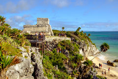 TULUM, MEXICO - 4 JANUARY 2016: Archeological site and ruins Stock Photos