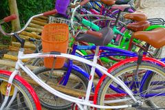 TULUM, MEXICO - JANUARY 10, 2018: Close up of bikes parked in a row in the enter of Mayan ruins of Tulum in Quintana Roo. Yucatan Peninsula, Mexico stock photos