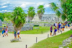 TULUM, MEXICO - JANUARY 10, 2018: Temple of the Frescoes at the Mayan ruins of Tulum in Quintana Roo,Yucatan Peninsula. Mexico royalty free stock image