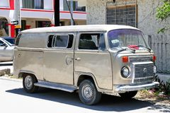 Volkswagen Transporter. Tulum, Mexico - May 17, 2017: Old cargo van Volkswagen Transporter in the town street stock photography