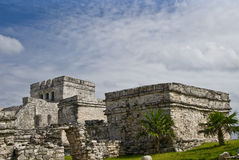 Tulum Mexico ruins. With scenic landscape and sky royalty free stock photos