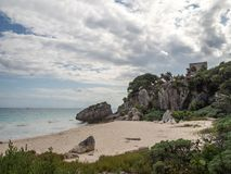 Tulum, Mexico, South America : [Tulum ruins of ancient Mayan city, tourist destination, Caribbean sea, gulf, beach]. Tulum, Mexico, South America - January 2018 stock images