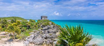Tulum,Mexico. Tulum temple and panoramic view of mexican caribbean Stock Photos