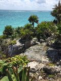 Tulum Mexico. View of Caribbean Ocean from Tulum Ruins royalty free stock photography
