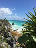 Tulum Mexico. View of Caribbean from Tulum Ruins royalty free stock photography