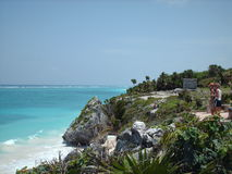 Tulum, Mexico. A view of a cliff and rocks at Tulum beach, Mexico Royalty Free Stock Image