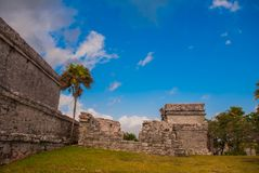 Tulum, Mexico, Yucatan, Riviera Maya: The ruins of the ancient Mayan city archeological site in Tulum.  stock photos