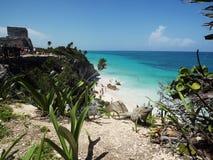 Tulum, morze karaibskie Zdjęcia Royalty Free