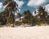 Tulum plaża w Tulum ruinach, Meksyk obrazy royalty free