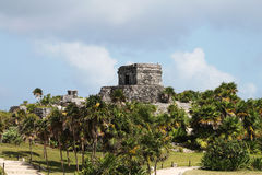 Tulum precolumbian ruins. Ancient Maya ruins at Tulum archaeological park in Yucatan, Mexico Stock Images