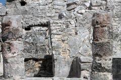 Tulum precolumbian ruins. Closeup of columns. Ancient Maya ruins at Tulum archaeological park in Yucatan, Mexico Stock Images