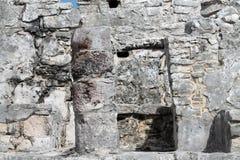 Tulum precolumbian ruins. Closeup of columns. Ancient Maya ruins at Tulum archaeological park in Yucatan, Mexico Stock Photos