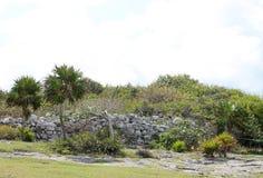 Tulum precolumbian ruins. Undescript Ancient Maya ruins at Tulum archaeological park in Yucatan, Mexico Stock Image