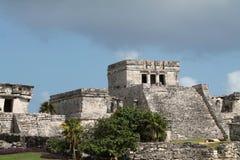 Tulum precolumbian temple. Ancient Maya temple ruins at Tulum archaeological park in Yucatan, Mexico Royalty Free Stock Photos