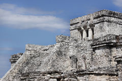 Tulum pyramid temple. Ancient pyramid temple of Tulum, Mexico.  Mayan ruins Royalty Free Stock Photo