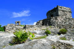 Tulum, Riviera Maya, Mexico. The magic mayan ruins on the Caribbean coast near Cancun, Mexico royalty free stock photo