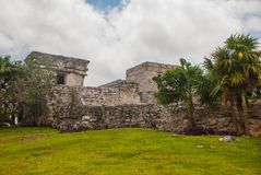 Tulum, Riviera Maya, Yucatan, Mexico: Majestic ruins in Tulum.Tulum is a resort town on Mexicos Caribbean coast royalty free stock photography