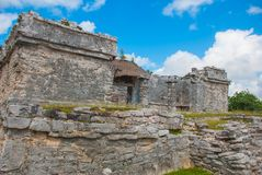 Tulum, Riviera Maya, Yucatan, Mexico: Ruins of the destroyed ancient Mayan city. Archaeological complex stock photography