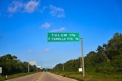 Tulum road sign in Riviera Maya Mexico. Tulum road sign in Riviera Maya of Mexico royalty free stock images