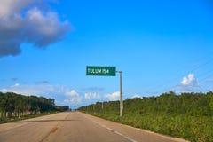 Tulum road sign in Riviera Maya Mexico. Tulum road sign in Riviera Maya of Mexico royalty free stock photos