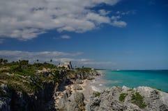Tulum, ruínas maias além do mar das caraíbas Maya de Riviera, Travelin Fotografia de Stock