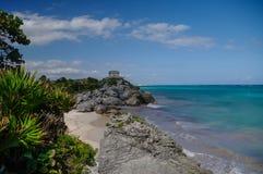 Tulum, ruínas maias além do mar das caraíbas Maya de Riviera, Travelin Fotos de Stock