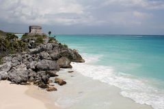 Tulum Ruin on a Hill Royalty Free Stock Image