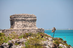 Tulum Ruins. Ruins of tulum mexico with ocean stock image