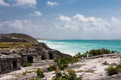 Tulum ruins. In mexico on yucatan peninsula stock photography