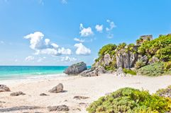 Tulum Ruins by the Caribbean Sea, Mexico Royalty Free Stock Photography