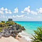 Tulum Ruins by the Caribbean Sea, Mexico Royalty Free Stock Photo