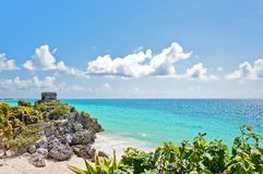 Tulum Ruins by the Caribbean Sea, Mexico Royalty Free Stock Images