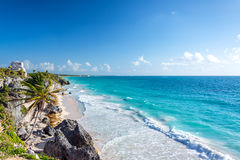 Tulum Ruins and Caribbean Wide Angle Stock Photography