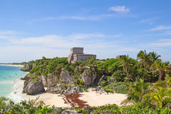 Tulum. Ruins of the Mayan fortress and temple near Tulum, Mexico royalty free stock photos