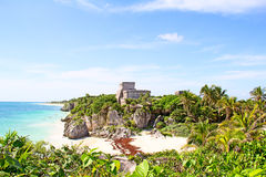 Tulum. Ruins of the Mayan fortress and temple near Tulum, Mexico stock photography