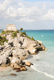 Tulum ruins in Mexico. Landscape of the El Castillo ruins in Tulum, the site of a Pre-Columbian Maya walled city royalty free stock photography
