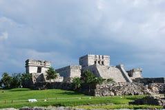 Tulum ruins in Mexico. Archaeological site of Tulum, Mexico. El Castillo de Tulum, a Maya Pyramid royalty free stock image
