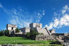 Tulum ruins in Mexico. El Castillo de Tulum royalty free stock images