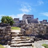 Tulum ruins. At Mexico, near Playa del carmen, ancient mayan royalty free stock image