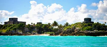 Tulum ruins. A panoramic of the Tulum ruins in Mexico. Mayan Riviera stock photo